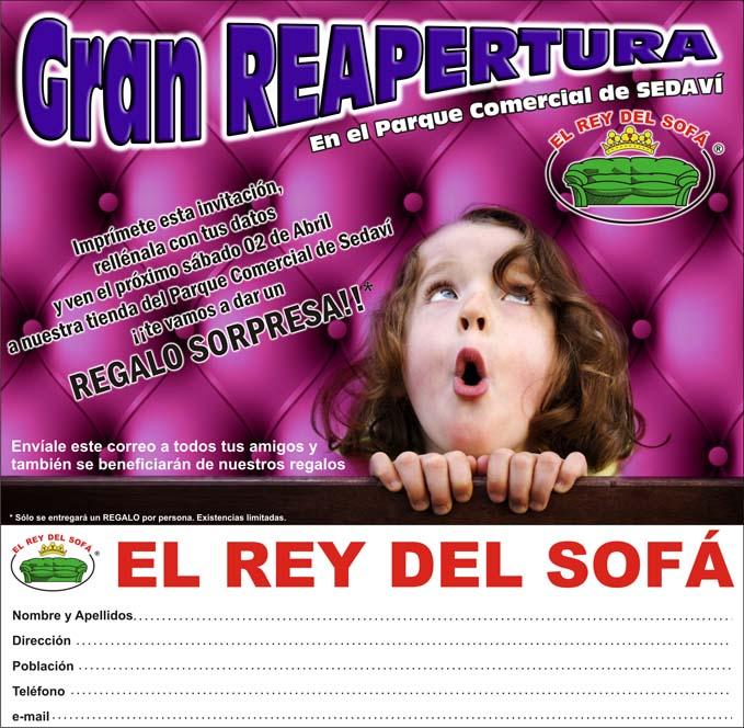 Invitacion Reapertura El Rey del Sofá