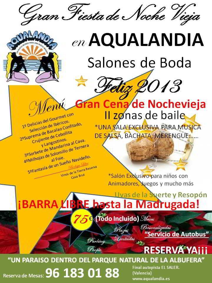 Publicidad Cena Nochevieja Salon Bodas Aqualandia
